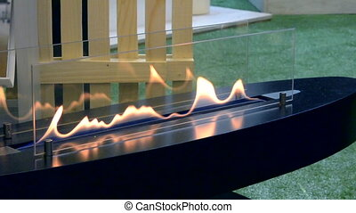 Modern bio fireplot fireplace on ethanol gas. Smart...