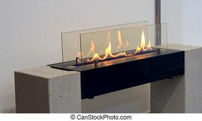 Modern bio fireplot fireplace on ethanol gas. Smart ecological alternative