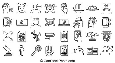 Modern biometric authentication icons set, outline style