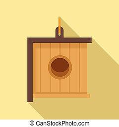 Modern bird house icon, flat style