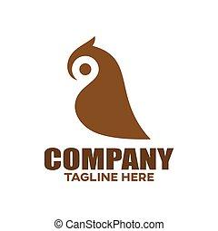 Modern bird owl logo. Vector illustration.