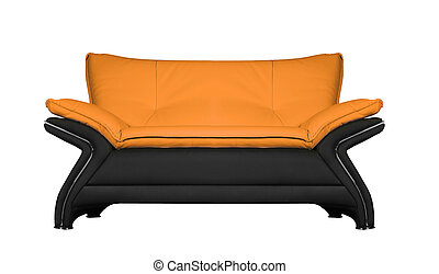 modern black and red leather sofa isolated on white background