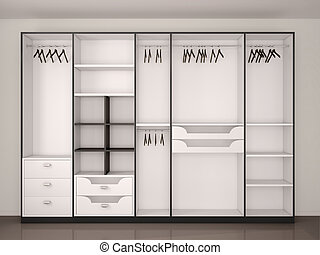 modern black and white empty walk-in closet