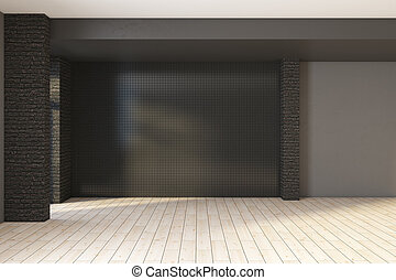 Modern black brick interior with empty wall