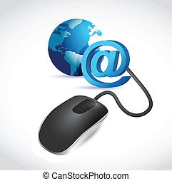 computer mouse connected to a blue globe