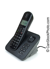Modern black digital cordless phone with answering machine