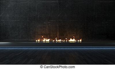 Modern black fireplace design idea with dark concrete wall 3D rendering