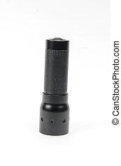 Modern black flashlight isolated on white