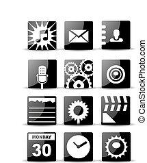 Modern black flat mobile app icon set