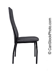 Modern black grey chair isolated on white background. Side view