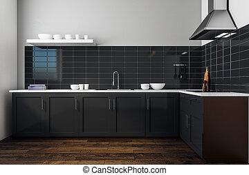 Modern black kitchen interior