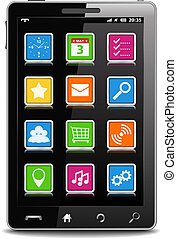 Modern black mobile phone