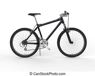 Modern black mountain bike - side view