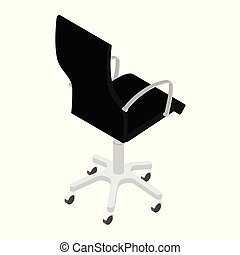 Modern black office chair isolated on white background isometric view . Office furniture