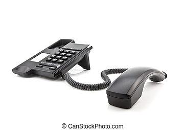 Modern black phone with handset on white background