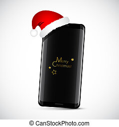 modern black smartphone with christmas hat as a gift