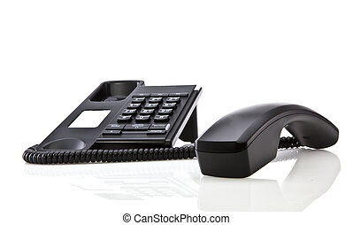 Modern black telephone with handset laying down on white