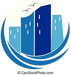 Modern blue buildings real estate logo
