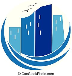 Modern blue buildings real estate logo
