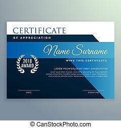 modern blue certificate and award design template