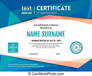 Modern blue certificate background design template