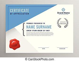 modern blue certificate of appreciation design