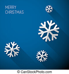 Modern blue christmas card with flat design