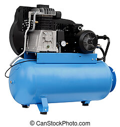 Modern blue compressor. - Modern compressor isolated on...