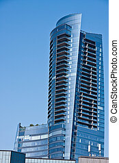 Modern Blue Curvilinear Office Tower - A modern blue office ...