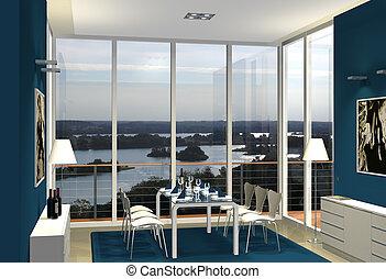 modern blue dining room