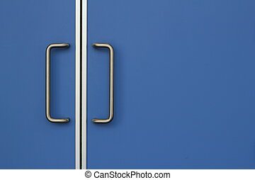 Modern blue doors.  - Modern blue door with silver handles.