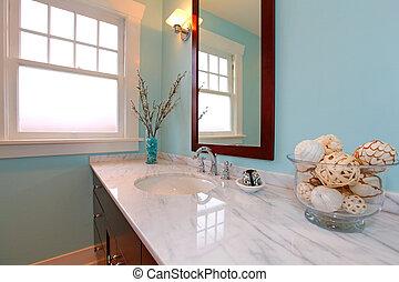 Modern blue fresh new bathroom sink