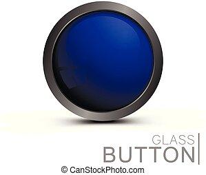Modern blue glass button.