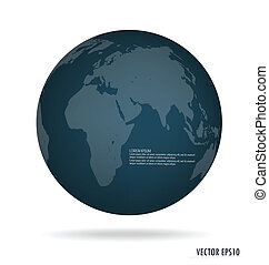 Modern blue globe. Vector illustration.