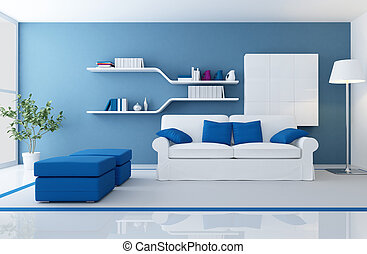 modern blue interior - white couch in a blue modern living...