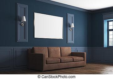 Modern blue living room side