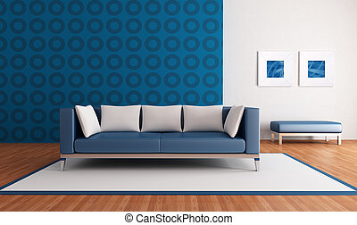 minimalist blue lounge with modern couch and geometrical wallpaper - rendering-the picture art on wall is a my abstract composition