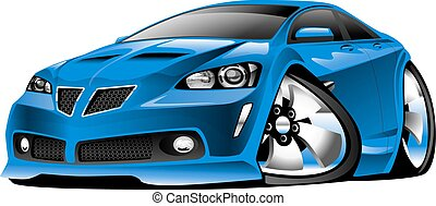 Modern Blue Muscle Car Cartoon - Modern American Blue Muscle...
