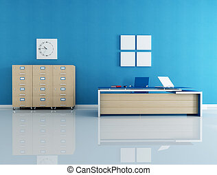 blue office interior - modern blue office interior -...