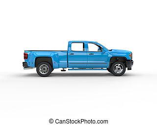 Modern blue pickup truck - side view
