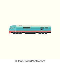 Modern blue railway locomotive vector Illustration on a white background