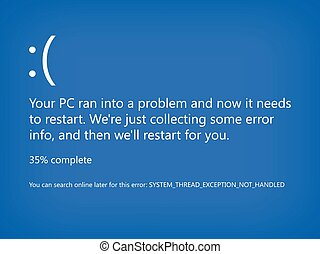 Modern blue screen of death (BSOD). System crash error. Vector Illustration