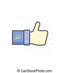 Blue thumb up icon, vector illustration