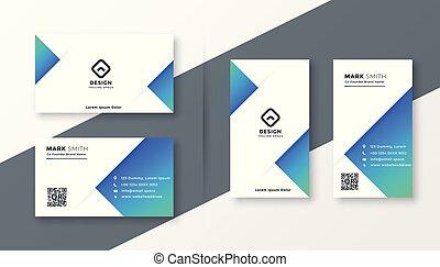 modern blue triangle business card design