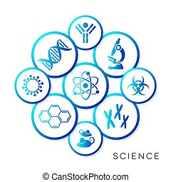 Modern blue vector science infographic buttons