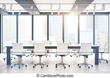 Modern boardroom with city view and sunlight. 3D Rendering