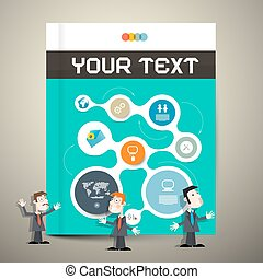 Modern Book or Brochure Cover Design - Infographics Template, Layout with Businessmen or Teachers
