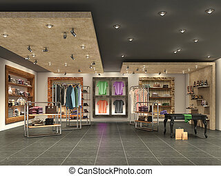 modern boutique interior with clothes, 3d illustration