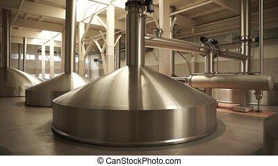 Modern brewing production - metal beer tanks - Brewing...