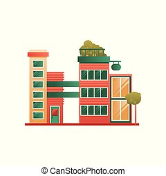 Modern brick city building facade vector Illustration on a white background